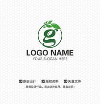 G字母树叶环保农业LOGO设计