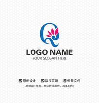 Q字母花元素时尚LOGO设计