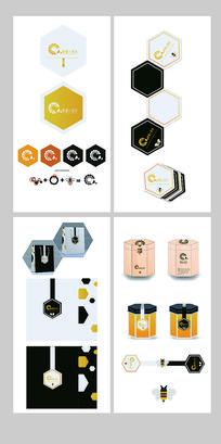 六边形黄白蜂蜜整套包装