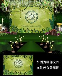 森系婚礼迎宾甜品台背景板设计