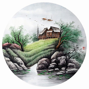 山水圆形装饰画