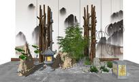 新中式假山竹子景观小品