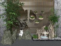 新中式假山竹子园艺小品