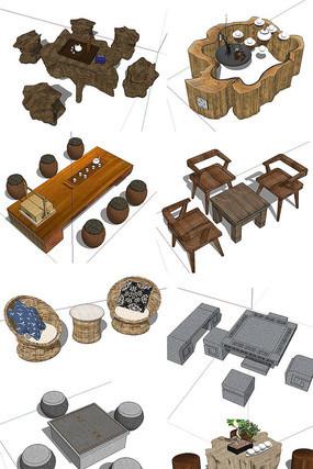 中式茶座模型