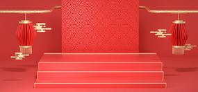 C4D中秋节红色中国风背景
