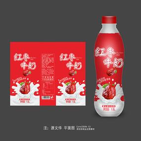 大气红枣牛奶瓶标包装设计