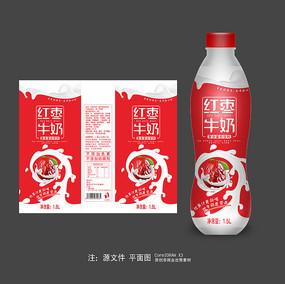 红枣牛奶瓶标包装设计