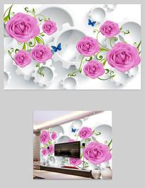 浪漫玫瑰花藤电视沙发背景墙