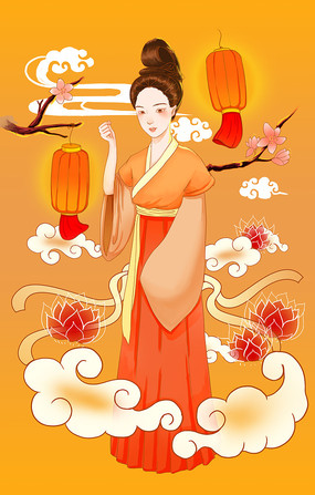 原创手绘祥云灯笼和嫦娥仙女中秋节插画海报
