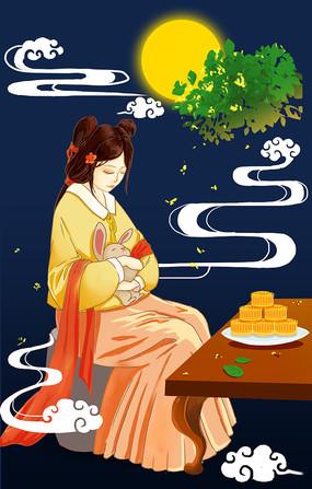 原创手绘祥云和嫦娥仙女中秋节插画海报