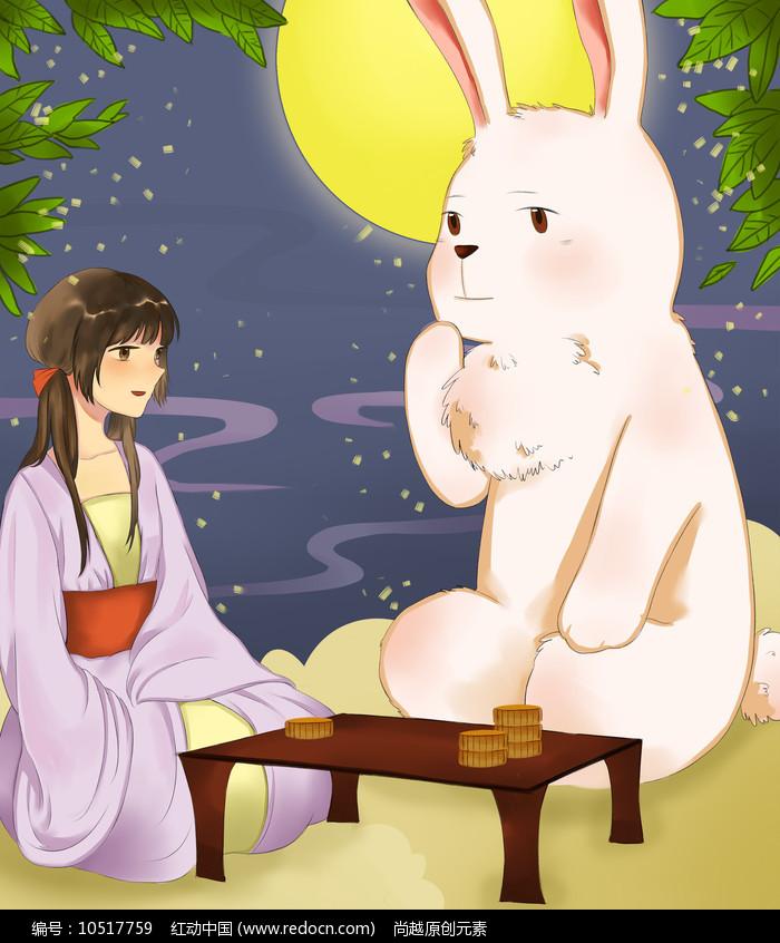 原创手绘月兔星空夜景中秋节插画海报图片
