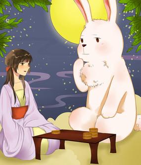 原创手绘月兔星空夜景中秋节插画海报