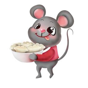 原创元素鼠年抱碗饺子