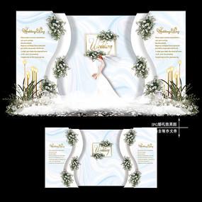 白蓝色婚礼迎宾区效果图设计婚庆舞台背景