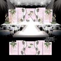 粉白色大理石纹主题婚礼效果图设计婚庆背景