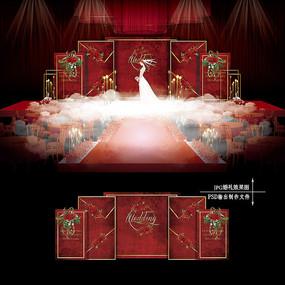 红色欧式复古婚礼效果图设计婚庆舞台背景