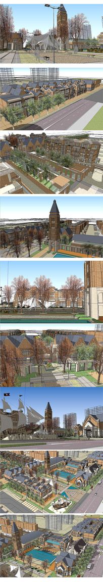 欧式小区建筑模型