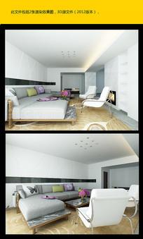 现代客厅模型 效果图