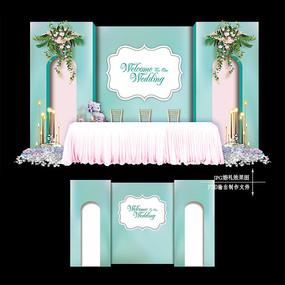 蒂芙尼蓝浪漫婚礼迎宾区效果图设计婚庆背景