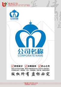M字母白宫城堡图案LOGO设计