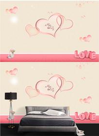 爱情浪漫心形LOVE卧室背景墙