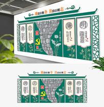 简约新中式党建廉政古风基层建设文化墙