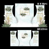 小清新INS风婚礼迎宾区效果图设计婚庆
