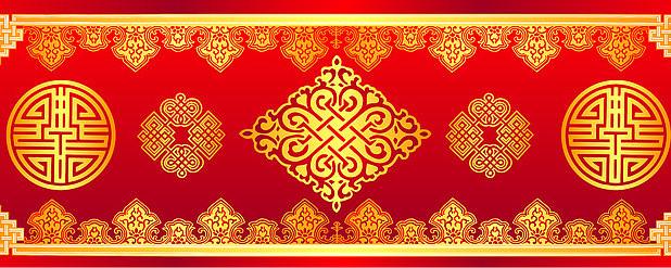 蒙古族婚礼背景红金