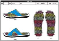中國風男拖鞋圖案涼鞋平面制圖設計