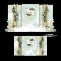 大理石纹婚礼效果图设计婚庆迎宾布置背景板