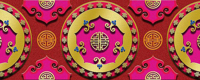 蒙古族背景图案红