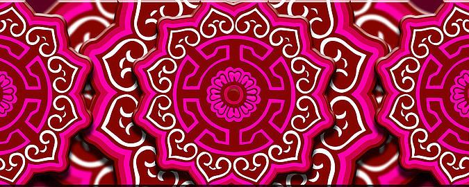 蒙古族花背景红
