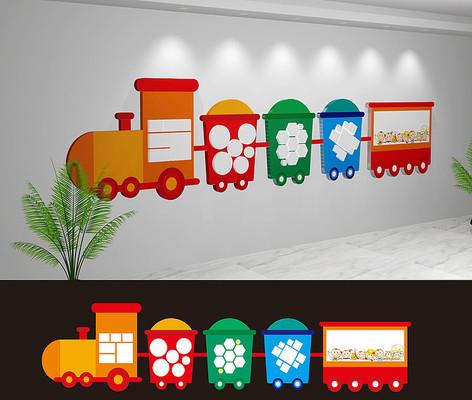 幼儿园小火车文化墙