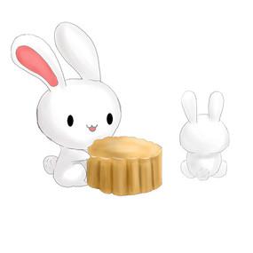 简约手绘月兔月饼传统中秋节元素