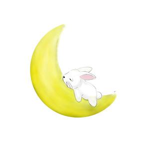 简约手绘月兔月亮传统中秋节元素