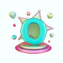 气球立体炫酷倒计时周年庆数字0