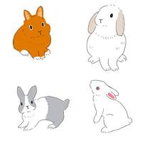 手绘兔子月兔动物插画元素