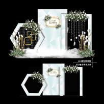 INS风小清新婚礼效果图设计欧式婚庆背景