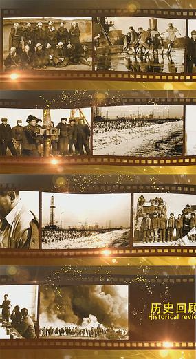 怀旧历史泛黄胶片照片人物事迹展示AE模板