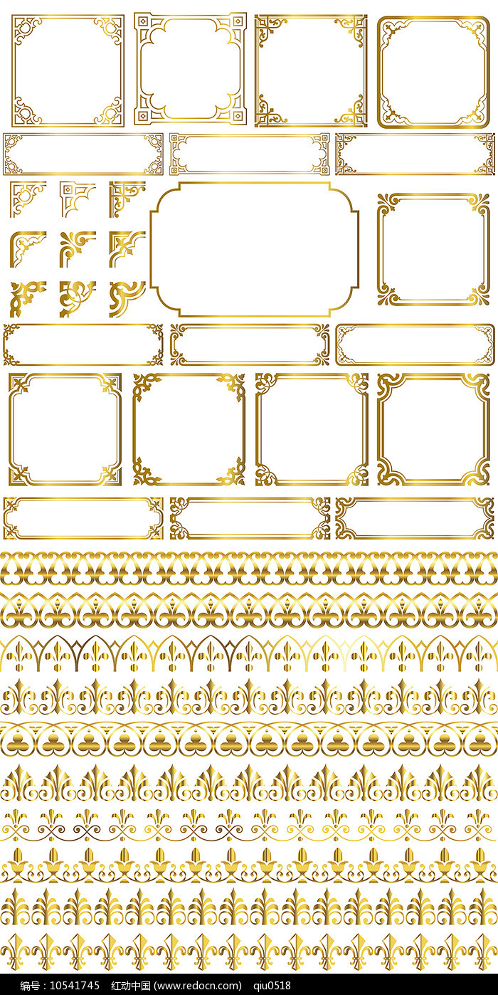 欧式金色花纹边框EPS矢量图案PSD分层图片