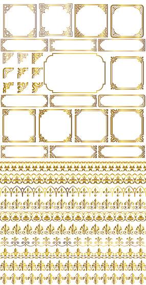 欧式金色花纹边框EPS矢量图案PSD分层