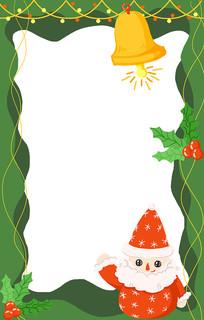 手绘原创圣诞老人圣诞节边框插画元素