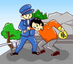原创元素手绘警察抓小偷