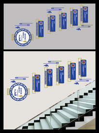 3D蓝色公安局楼梯警营文化墙