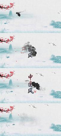 大气唯美水墨背景中国风山水片头ae模版