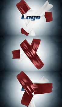创意3D布料动画标志logo片头pr模板
