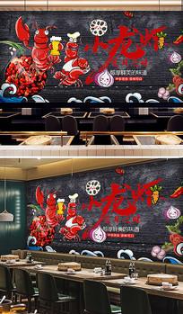 火锅店餐厅背景夜宵小龙虾背景墙