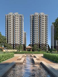 3d小区住宅透视模型
