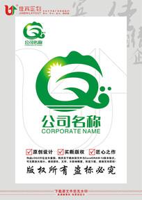 Q英文字母山水农业旅游标志设计