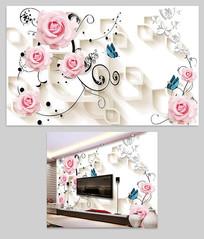 粉玫瑰时尚雅致3D背景墙